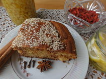 Cooking vegetarian healthy cake with goji berries. Nuts, spices, ginger, vegetables stock photo