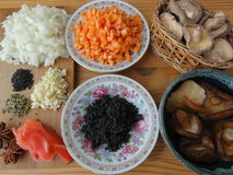 Cooking vegetarian healthy food. With mushrooms, ginger, onion, vegetables stock photo