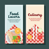 Cooking vertical banner. Two vertical banner with cooking or food theme in flat style Royalty Free Stock Photos