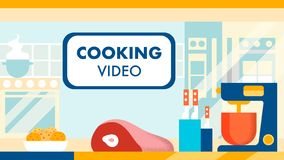 Cooking Video Blog, Channel Vector Illustration. Educational Culinary Vlog, Online Show. Recipes Tutorial, Knowledge Sharing. Internet Blogging Business royalty free illustration