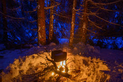 Cooking in winter travel Royalty Free Stock Photos