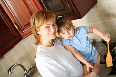 Cooking With A Daughter Royalty Free Stock Photography