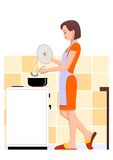 Cooking woman. In kitchen. Vector illustration Stock Photography