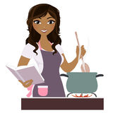 Cooking woman. Woman with cook book and stove top Stock Images