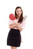 Cooking woman or housewife, hand holding spatula and pan Royalty Free Stock Photo