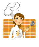 Cooking woman in kitchen. A modern woman chef in kitchen preparing for cooking Stock Photography