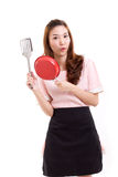 Cooking Woman Or Housewife, Hand Holding Spatula And Pan