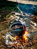 Cooking in the woods Royalty Free Stock Images