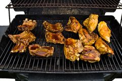 Cookout on a Gas Grill. Chicken, ribs, and lots of barbecue sauce on a hot gas grill! Yumm! (I can say that because I got to eat some of these very pieces royalty free stock image