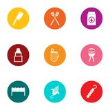 Cookout icons set, flat style. Cookout icons set. Flat set of 9 cookout vector icons for web isolated on white background Royalty Free Stock Images