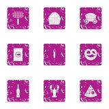 Cookout icons set, grunge style. Cookout icons set. Grunge set of 9 cookout vector icons for web isolated on white background Royalty Free Stock Photo