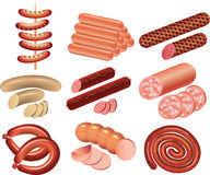 Cookout and sausages photo-realistic set stock illustration