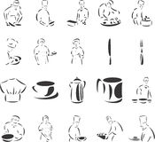 Cooks. 20 themed EPS images related to cooks. The number of vector nodes is absolute minimum. The images are very easy to use and edit and are extremely smooth stock illustration