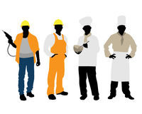 Cooks and builders silhouettes. Vector illustration of a cooks and builders silhouettes Stock Photos
