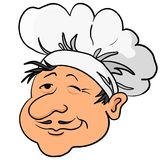 Cooks head in a cap. Head of the cook - chef in a cap, funny character, isolated Royalty Free Stock Images