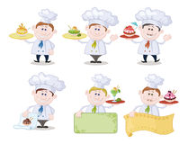 Cooks with Ice Cream and Posters Royalty Free Stock Image