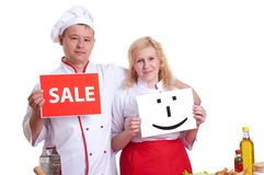 Cooks keep the signs Royalty Free Stock Photo
