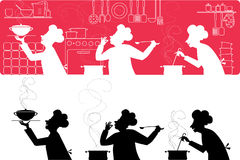 Cooks in the kitchen. Silhouettes of three cooks working in the kitchen Stock Illustration