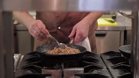 Cooks preparing food on stove in big modern restaurant kitchen stock video