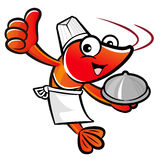Cooks Shrimp Mascot the Left hand best gesture and Right hand is Stock Images