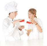Cooks team with plastic boxes Stock Photography