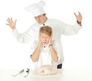 Cooks team preparing raw chicken Stock Image