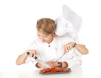 Cooks team preparing raw meat, series Royalty Free Stock Image