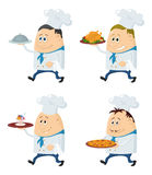 Cooks with trays set Stock Photos