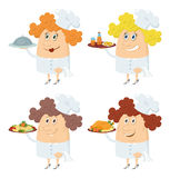 Cooks women with trays set Royalty Free Stock Images