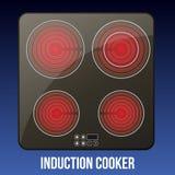 Cooktops индукции вектора реалистические черные или стекл-керамический бесплатная иллюстрация