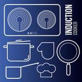 Cooktops de la inducción de los iconos del vector y utensilios de la cocina stock de ilustración