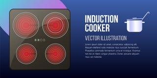 Cooktops neri di induzione di vettore o vetro-ceramico realistici illustrazione di stock
