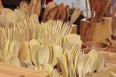 Cookware carved in wood Stock Photo