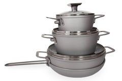 Cookware del acero inoxidable Imagen de archivo libre de regalías