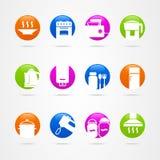Cookware del botón del icono del logotipo de la cocina del diseño ilustración del vector