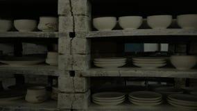Cookware firing shop. Mobile rack with baked earthenware. Circular panorama.