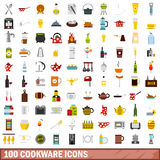100 cookware icons set, flat style Royalty Free Stock Image