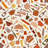 Cookware kitchen seamless pattern in brown shades Royalty Free Stock Photos