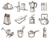 Cookware and kitchen utensils Royalty Free Stock Photos