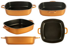 Cookware, nonstick pan. Five point of view of cookware, cast iron cooking pot, nonstick pan, isolated on white stock image