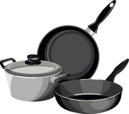 Cookware pans casserole. A set of dishes and pans two pan on a white background Royalty Free Stock Images