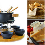 Cookware set for fondue , different cheese and bread. Cookware set for fondue , different cheese and a basket of bread stock image