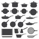 Cookware silhouette set Stock Photos