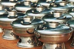Cookware ustaleni aluminiowi garnki, niecki Fotografia Stock