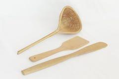 Cookwaren gjorde ‹för †av trä royaltyfri foto