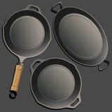 Cookwarereeks Retro stijl Stock Foto