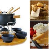 Cookwareuppsättning för fondue, olik ost och bröd Fotografering för Bildbyråer