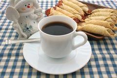 Cooky, guardanapo, copo, café, boneco de neve Imagens de Stock Royalty Free