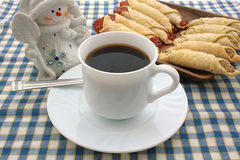 Cooky, napkin, cup, coffee, snowman Royalty Free Stock Images