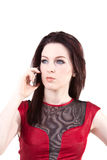 Cool. Young brunette getting a call Royalty Free Stock Images